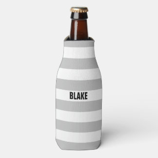 Personalized Gray and White Striped Bottle Cooler