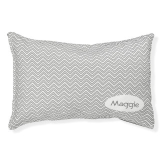 Personalized Gray Chevron Pet Bed