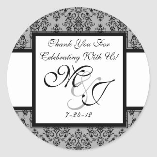 Personalized Gray Damask Wedding Favor Labels Round Sticker