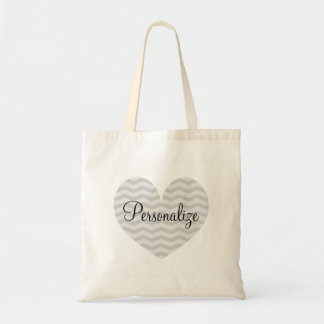 Personalized gray heart chevron pattern tote bag