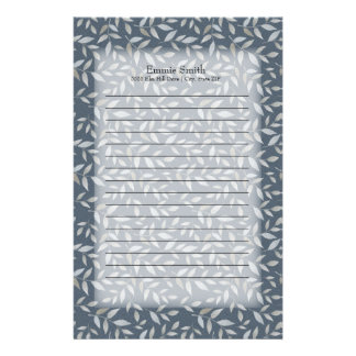 Personalized Gray Leaves on Dark Blue Stationery