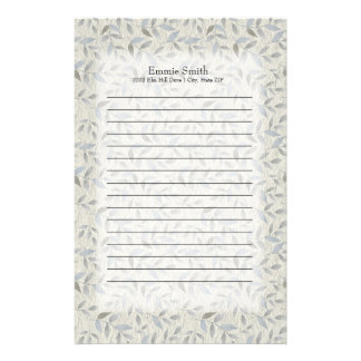 Personalized Gray Leaves on Gray and White Stationery