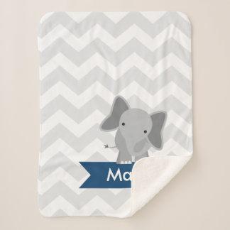 Personalized Gray Navy Blue Chevron Elephant Sherpa Blanket
