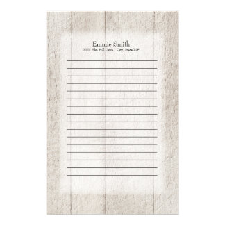 Personalized Gray Rustic Wood Stationery