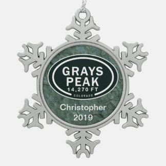 Personalized Grays Peak Colorado Rocky Mountain Snowflake Pewter Christmas Ornament