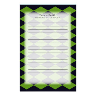 Personalized Green and Black Harlequin Diamond Stationery