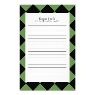 Personalized Green and Black with White Checkered Stationery