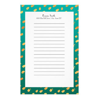 Personalized Green and Gold Stationery