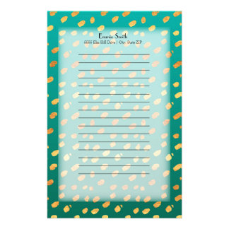 Personalized Green and Gold with Translucent Stationery