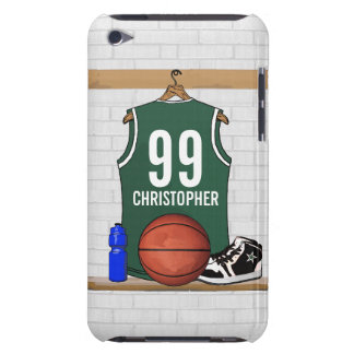 Personalized Green and White Basketball Jersey Case-Mate iPod Touch Case