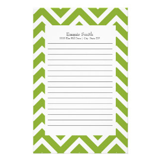 Personalized Green and White Chevron Pattern Stationery