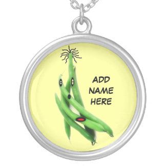 Personalized Green Bean Cartoon Silver Plated Necklace