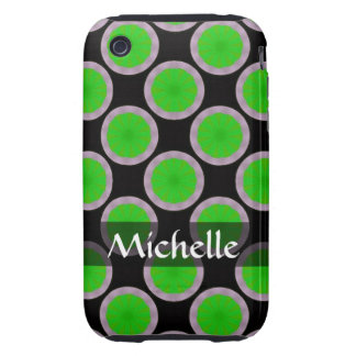 Personalized green black circles pattern iPhone 3 tough cases