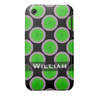 Personalized green black circles pattern Case-Mate iPhone 3 cases
