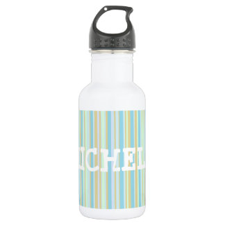 Personalized Green & Blue Striped Water Bottle