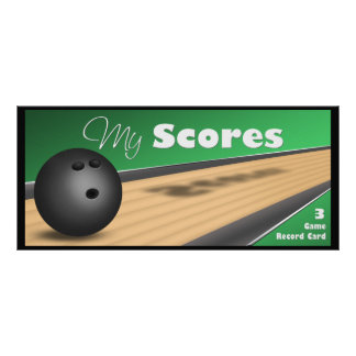 Personalized Green Bowling Score Cards Full Color Rack Card