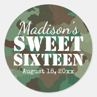 Personalized Green Camo Sweet Sixteen Birthday Round Sticker