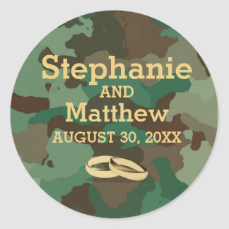 Personalized Green Camo Wedding Sticker Seal