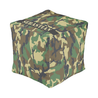 Personalized Green Camouflaged Pouf
