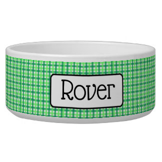 Personalized Green Checkered Dog Bowl