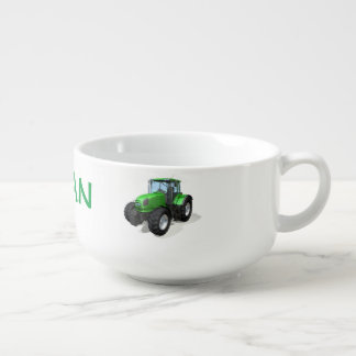 Personalized Green Farm Tractors Soup Mug