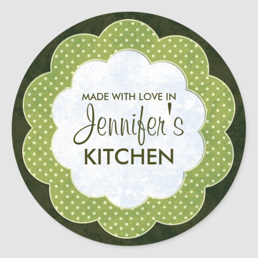 Personalized Green Floral Dot Canning Stickers