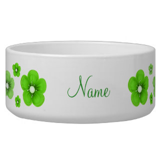 personalized Green Flower Dog Bowl
