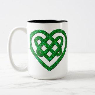 Personalized Green Glitter Celtic Heart Knot Mug Two-Tone Mug