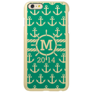 Personalized Green Gold Nautical Anchors Pattern Incipio Feather® Shine iPhone 6 Plus Case