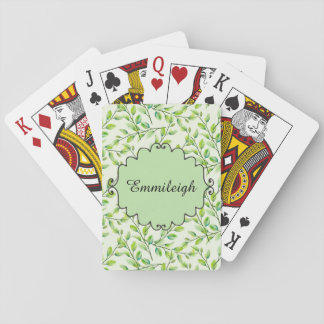 Personalized Green Leaves and Branches Playing Cards