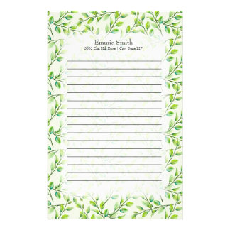 Personalized Green Leaves and Branches Stationery