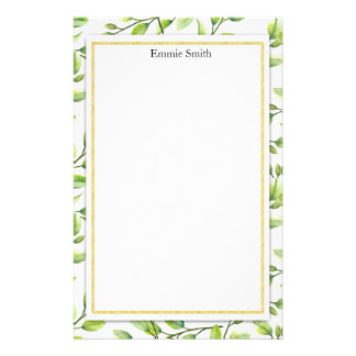 Personalized Green Leaves Branches on White Stationery