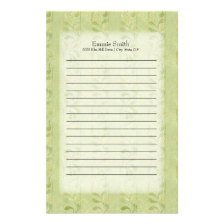 Personalized Green Leaves Stationery