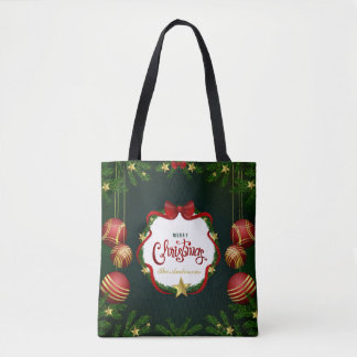 Personalized Green Merry Christmas | Tote Bag