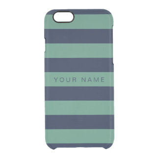 Personalized Green & Navy Blue Striped Clear iPhone 6/6S Case