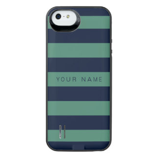 Personalized Green & Navy Blue Striped Uncommon Power Gallery™ iPhone 5 Battery Case