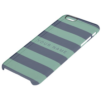 Personalized Green & Navy Blue Striped Uncommon Clearly™ Deflector iPhone 6 Plus Case