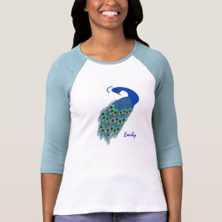 Personalized Green Peacock Ladies 3/4 Sleeve T Shirt