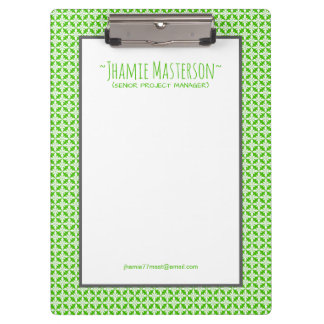 Personalized Green Polycross Clipboards