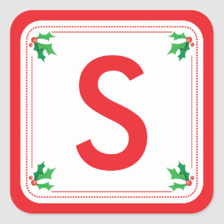 Personalized green & red holly Christmas sticker
