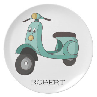 Personalized Green Scooter Child's Plate