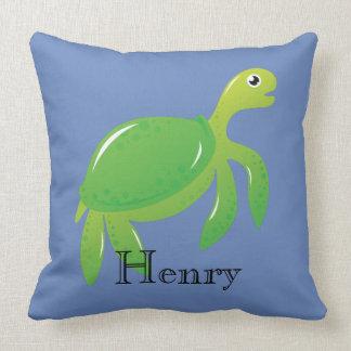 Personalized Green Sea Turtle in Blue Sea Pillow