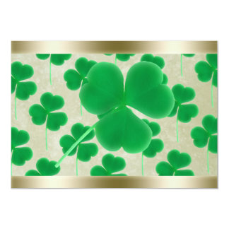 Personalized Green Shamrocks Gold Border 13 Cm X 18 Cm Invitation Card
