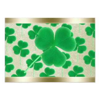 Personalized Green Shamrocks Gold Border 5x7 Paper Invitation Card
