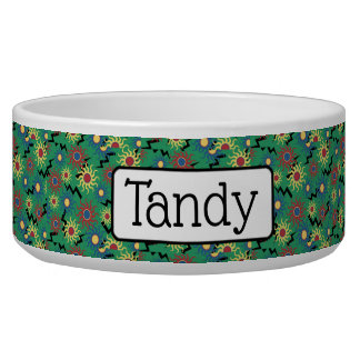 Personalized Green Sunshine and Lightning Dog Bowl