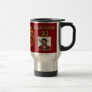Personalized Green Text basketball Photo Tumbler Travel Mug