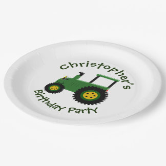 Personalized Green Tractor Birthday 9 Inch Paper Plate