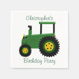 Personalized Green Tractor Birthday Paper Serviettes