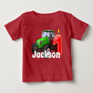 Personalized  Green Tractor  First Birthday Baby T-Shirt