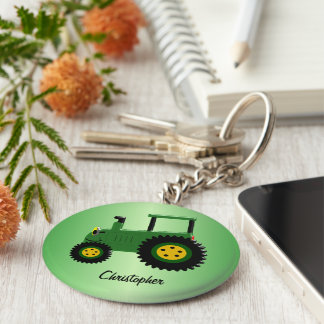 Personalized Green Tractor Key Ring